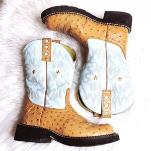 Ariat Fatbaby Womens 6.5 B Blue/Brown Ostrich/Leat
